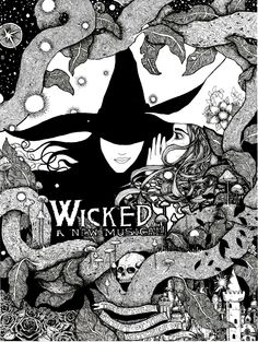 "Wicked 9x12"" signed illustration PRINT pen and ink Wizard of Oz wicked witch black and white Emerald City field of roses good witch skull by WyldTrees on Etsy"