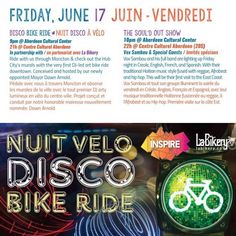 TONIGHT. 9PM. (TAG #noiseNB)  at @festivalinspire ... BIKE DISCO! Join Festival Inspire & Coopérative La Bikery Co-operative in a Disco Bike Ride in the streets of downtown Moncton to admire the murals in progress and meet the artists from here and far away lands of Festival Inspire 2016 ! .  Gimme that bike fever bike fever!  We know how to do it   Gimme that bike fever bike fever  We know how to show it !  . Pimp your bike with mirror balls wear your sequined blazer and that 70's wig from…