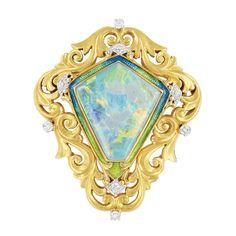Art Nouveau Gold, Platinum, Opal, Enamel and Diamond Brooch, Shreve, Crump & Lowe Co.