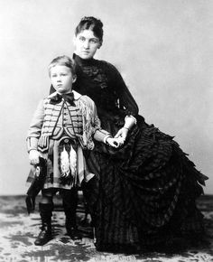 Future US President Franklin Delano Roosevelt with his mother Sara, 1887.