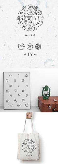 Logo redesign for Miya, an importer of traditional Japanese gifts and tableware. Clean line drawing style icons are based on popular Japanese and oriental cultural symbols (e.g. like sakura, lotus flower, Daruma doll, mount Fuji, chopsticks, bento box, etc.). Together, the icons form a circle that stands for harmony and peace of mind.