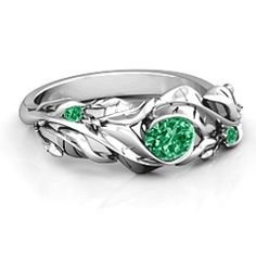 Sterling Silver Organic Leaf Ring with Emerald (Simulated) Stones #jewlr