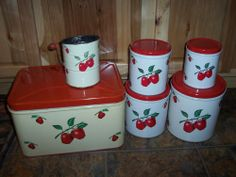 Vintage Tin Decoware Apple Canisters Bread Box Sifter Nice!