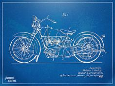 Motorcycle blueprint art print letters and words and images blue print art malvernweather Images