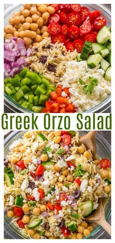 Greek Orzo Pasta Salad is light, refreshing, and so flavorful! Always a hit at parties and potlucks! for parties Greek Orzo Salad - Baker by Nature Orzo Salad Recipes, Summer Salad Recipes, Orzo Pasta Salads, Vegetarian Pasta Salad, Food Salad, Salad Recipes Vegan, Fruit Salad, Best Summer Salads, Summer Vegetarian Recipes