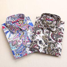 Hot New Vintage Shirt Women Blouses Turn-down Collar Summer Tops Long Sleeve Woman Clothes Cotton Camisas Femininas S-3XL 2015