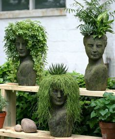 love these plantings! Stoneface Creations how fun. love these plantings! Stoneface Creations how fun.love these plantings! Stoneface Creations how fun. Head Planters, Garden Planters, Concrete Planters, Herbs Garden, Balcony Garden, Cement Garden, Stone Planters, Moss Garden, Gardening Vegetables