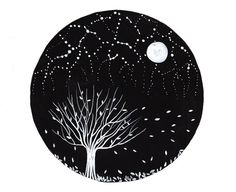 This is an original black and white mixed media illustration about starry sky of autumn fall night.    TITLE: Round Paintings 77    -This is a