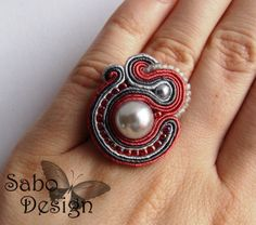 ROMANTIC soutache ring embroidered handmade in pink and gray, summer fashion jewelry, TOHO beads, ooak Ready To Ship
