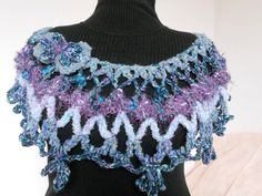 Crochet Capelet Poncho Handmade  Blue Purple by ChicChixnChampagne, $40.00