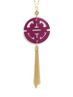 ZENZII Travel Tassel Pendant Necklace in Purple - Catch the attention everywhere you go with our very popular resin tassel pendant necklace.  38in length  19cm Pendant length (with tassel)  Nickel and Lead Compliant (Hypoallergenic)