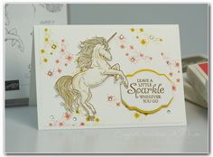 leave a little sparkle - einhorn - stampin up - Stampin' Connection Unicorn Birthday Cards, Unicorn Cards, Stampin Up Katalog, Dinosaur Cards, Horse Cards, Stampinup, Making Greeting Cards, Scrapbook Templates, Stamping Up Cards