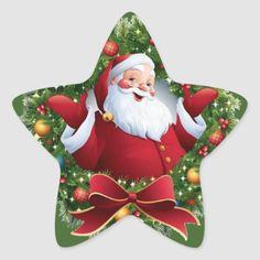 Shop Festive Santa Claus Christmas Wreath Star Sticker created by The_Christmas_Corner. Christmas Decoupage, Christmas Wood, Christmas Images, Christmas Design, Christmas Wreaths, Christmas Crafts, Merry Christmas, Christmas Decorations, Xmas