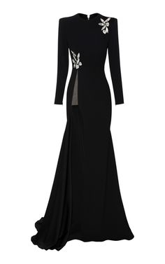 Alex Satin Crepe Longsleeve Split Crystal Gown by Alex Perry Simple Dresses, Elegant Dresses, Pretty Dresses, Stylish Winter Outfits, Classy Outfits, Beautiful Gowns, Beautiful Outfits, Crop Top Outfits, Ball Gown Dresses