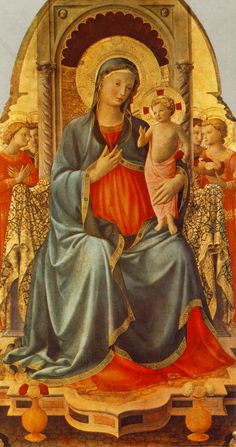 Madonna with the Child and Angels via Fra Angelico  Size: 137x68 cm  Medium: panel, tempera