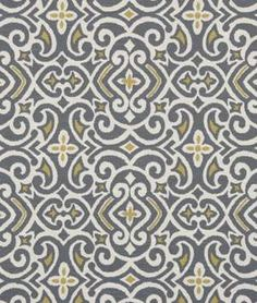 Shop Robert Allen @ Home New Damask Greystone Fabric at onlinefabricstore.net for $19.6/ Yard. Best Price & Service. (for pillow for bed) http://www.joann.com/upholstery-fabric-robert-allen-new-damask-greystone/12273330.html#q=damask+greystone&start=2  On sale at Joann for $16/yd