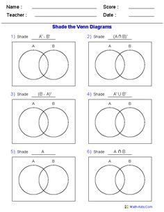 Venn diagram worksheets set notation problems using three sets this venn diagram worksheet is a great template using two sets use it for practicing ccuart Choice Image
