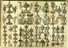 Cards with Italian suits: Eight playing-cards (Cups 2 to 9); aligned in two rows with four cards each. The suit-marks, which are all covered chalices remarkable for their variety and richness of design, no two being alike, are accompanied by children who disport themselves in a variety of ways, several being engaged in boring holes in the chalices to let out the liquid. c.1470 Etching
