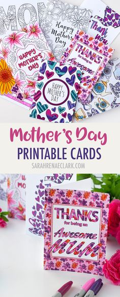These printable Mother's Day cards are fun to color in and a great way to personalize your Mother's Day gift! Includes 8 printable cards to color in | Find more Mother's Day printables and coloring pages at https://sarahrenaeclark.com/shop/cat/seasonal/mothers-day/