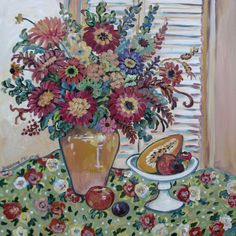 """""""Papaya and Zinnias"""" by Suzanne Etienne"""