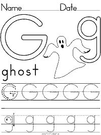 Alphabet Letter G Ghost Preschool Lesson Plan Printable Activities and Worksheet… - letter crafts preschool alphabet Letter G Activities, Letter Worksheets For Preschool, Halloween Worksheets, Fall Preschool Activities, Preschool Writing, Kindergarten Lesson Plans, Preschool Letters, Preschool Lessons, Kindergarten Worksheets