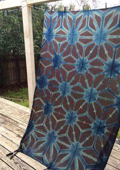 Panacea Textile illuminated Indigo panel fresh from the indigo vat. How To Dye Fabric, Fabric Art, Textile Dyeing, Shibori Techniques, Shibori Tie Dye, Creative Textiles, Japanese Textiles, Indigo Dye, Textile Patterns