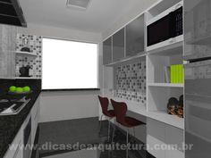 Cozinha moderna e colorida em espaço comprido. http://dicasdearquitetura.com.br/cozinha-estreita/