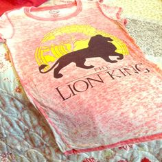 """Disney's LION KING """"Vintage Look"""" T-shirt Cool """"Vintage Inspired"""" Red T-Shirt with Yellow and Black THE LION KING Graphic on Front. Longer Length, Burnout Material, Super Soft, Scoopneck, Short Sleeve. Disney Brand Size Large Disney Tops"""