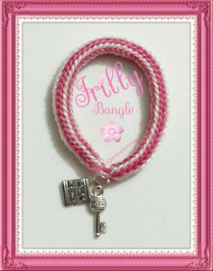 Frilly Bangle in Pink and Pearl White