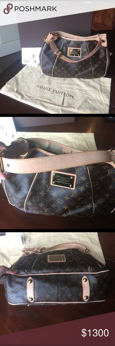 Louis Vuitton Galleria PM Monogram on toile canvas w/ light beige microfiber interior w/ flap pocket & cell phone pocket. Adjustable vachetta leather shoulder strap & piping trim, w/ polished brass hardware & plate.  Interior light marks mostly inside front.  Light patina throughout vachetta. Light marks on top of shoulder strap, haven't tried cleaning. Light scratches on hardware throughout.    Excellent condition.  No odors.  Smoke free/pet free home.  Box, dust bag, merch tag.  I keep…