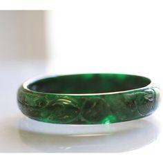 Vintage Jade Bracelet, Imperial Jade Asian Chinese Jewelry Jade Bangle... ($620) ❤ liked on Polyvore featuring jewelry, bracelets, hinged bangle, vintage jade jewelry, jade bangle, green jade jewelry and bangle bracelet