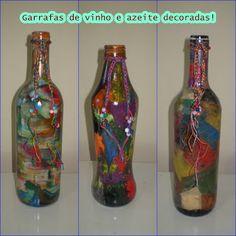 garrafas de vidro decoradas com pedrarias - Pesquisa Google