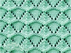 FREE Written instructions for Shell Lace stitch. The Shell lace stitch is really fun to knit whether you are an experienced knitter or you are new lace knitter. From the most basic stitches to the most complex, there are countless beautiful patterns for y Lace Knitting Stitches, Bamboo Knitting Needles, Knitting Basics, Lace Knitting Patterns, Knitting Charts, Lace Patterns, Knitting Designs, Stitch Patterns, Knitting Abbreviations