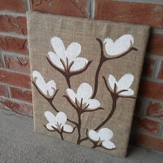 Cotton Boll Painting on Burlap 16x20 canvas by YDoodleDesigns, $25.00