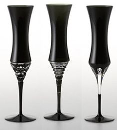 black champagne mixed design flutes
