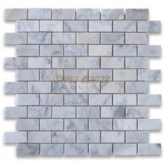 Carrara White 1x2 Medium Brick Mosaic Tile Polished - Marble from Italy - Mosaics - Carrara White $9.99/sheet