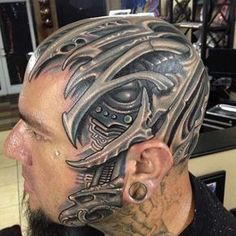 Mech skull piece by Roman Abrego - 45 Crazy Tattoos on Head Best 3d Tattoos, Face Tattoos, Creative Tattoos, Leg Tattoos, Body Art Tattoos, Cool Tattoos, Crazy Tattoos, Tatoos, Awesome Tattoos