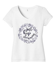 White 'Just Keep Swimming' V-Neck Tee