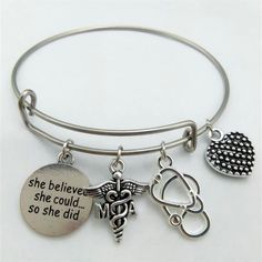Medical Assistant Caduceus & Round Word Message Pendant Bangle