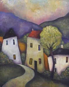 Original artwork Tree and Three Houses by artist Jeremy Mayes at ArtGallery.co.uk