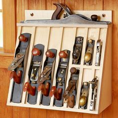 Learn Woodworking Hand-plane Rack Woodworking Plan from WOOD Magazine Woodworking Hand Tools, Woodworking Patterns, Popular Woodworking, Woodworking Projects, Woodworking Workbench, Woodworking Classes, Workbench Plans, Woodworking Furniture, Woodworking Organization