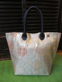 Reserved for Mariko: Brocade in Gold and Aqua Kimono Tango Tote Bag (Made from Japanese Silk Kimono Obi Fabric; Made in Japan; Kimono Bag)