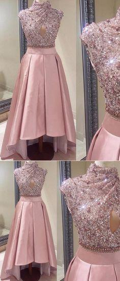#Pink Prom Dress #High Neck prom dress #Asymmetrical prom dress #Sequins prom dress #Cheap Prom Dress prom dress #beading prom dress