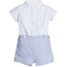 Laranjinha Baby Boys Blue Check Buster Suit at Childrensalon.com