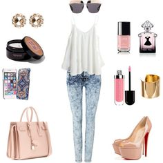 sunny day by andreea-mateiu on Polyvore featuring 7 For All Mankind, Christian Louboutin, Yves Saint Laurent, Miu Miu, Amber Sceats, Vera Bradley, Christian Dior, Guerlain, New York & Company and Chanel