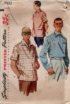 1950s Men's Casual Dress Shirt Simplicity by AdeleBeeAnnPatterns