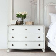 Eloquence® Gustavus Commode in Antique White finish. Add a European touch to your coastal or transitional bedroom! Enjoy the beautiful shape along with an abundance of storage space. Furnishings, Furniture, Storage Spaces, Dresser As Nightstand, White Finish, Bedroom Night Stands, Swedish Furniture, Bedroom Furniture, Gustavian Furniture