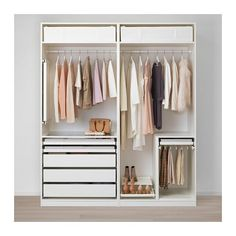 IKEA - PAX, Wardrobe, You can easily adapt this ready-made PAX/KOMPLEMENT combination to suit your needs and taste using the PAX planning tool. Sliding doors allow more room for furniture because they don't take any space to open. Bedroom Closet Design, Ikea Bedroom, Closet Designs, Bedroom Decor, Bedroom Ideas, Ikea Pax Wardrobe, Ikea Closet, Bedroom Wardrobe, Kids Wardrobe