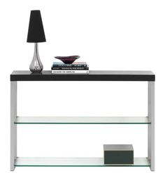 Console table, black-stained oak veneer/clear glass/brushed steel. H29¼xW47¼xD13¾. [Occa - 4055]