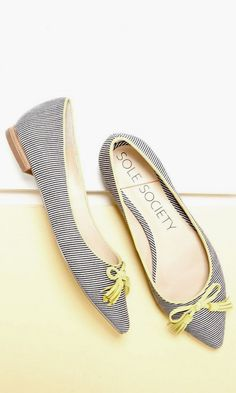 striped ballet flat with a pointed toe